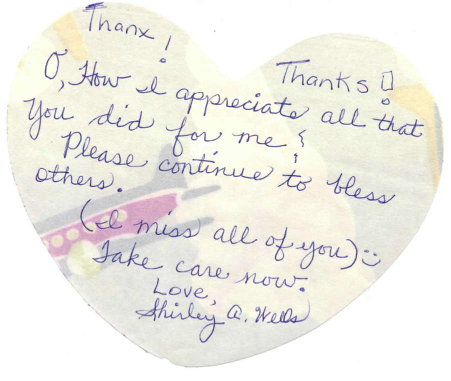 thank you note - shirley wells